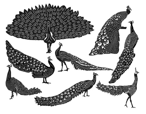 Peafowl Peacock Birds-DXF files Cut Ready for CNC-DXFforCNC.com