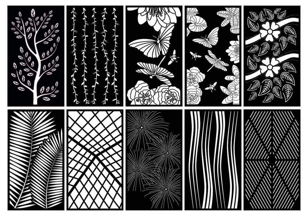 Abstract and Floral Decorative Privacy Screen Panels or Fence-dxf files cut ready