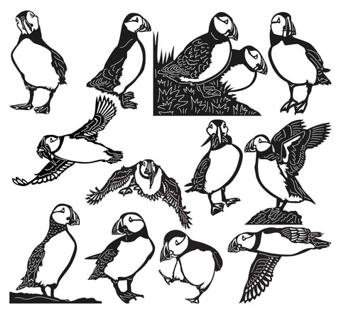 Puffin Birds-DXF files Cut Ready for CNC-DXFforCNC.com