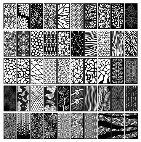 Abstract and Floral Decorative Privacy Screen Panels Doors or Fence dxf files