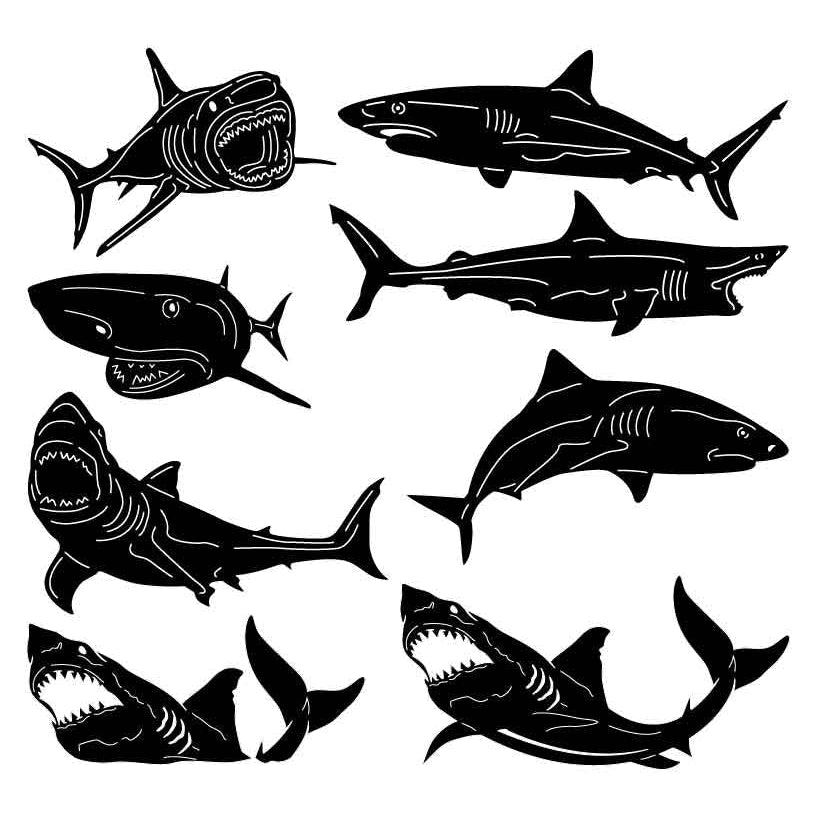 Shark Fishes-DXF files Cut Ready for CNC-DXFforCNC.com