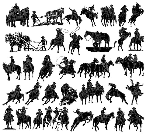 Texas Cowboys and Cowgirls-DXF files Cut Ready for CNC-DXFforCNC.com
