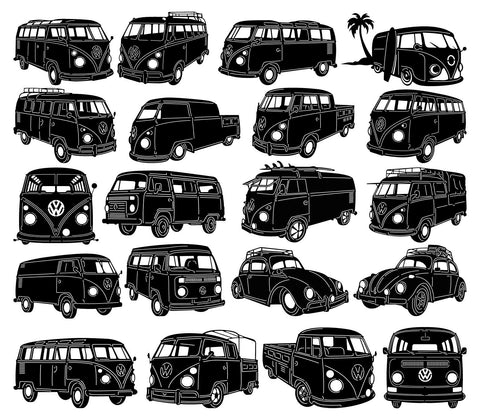 VW Kombi Vans and Cars-DXF files Cut Ready for CNC-DXFforCNC.com