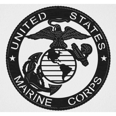 US Marine Corps with Eagle, Earth and Anchor Badge - DXF files Cut Ready CNC Designs -DXFforCNC.com