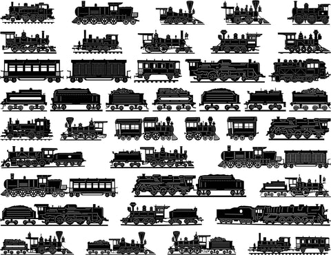 Antique Steam Locomotive Trains and Carts-DXFforCNC.com-DXF Files cut ready cnc machines
