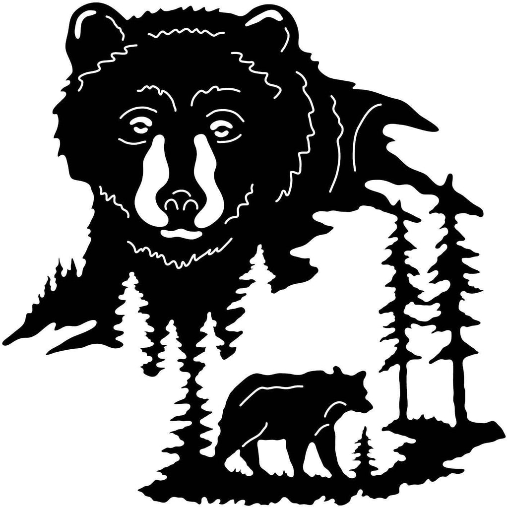 Bear and trees-DXFforCNC.com-DXF Files cut ready cnc machines