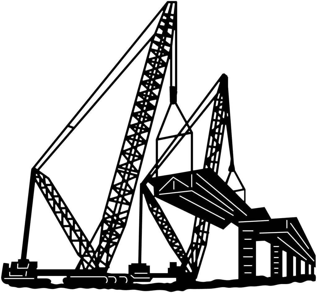 Cranes and Building Bridge Scene-DXFforCNC.com-DXF Files cut ready cnc machines