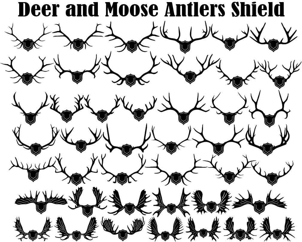 Deers and Mooses Antlers with Shield and Arrows-DXFforCNC.com-DXF Files cut ready cnc machines
