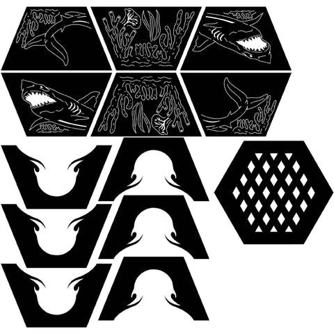 Fire Pit Hexagon Shark Fish And Coral Reef Dxf Files Cut
