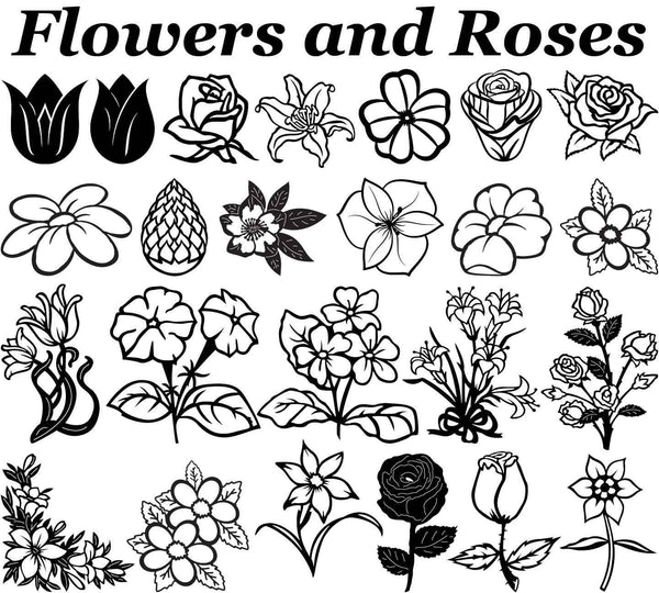 Flowers And Roses Dxf Files Cut Ready Cnc Designs
