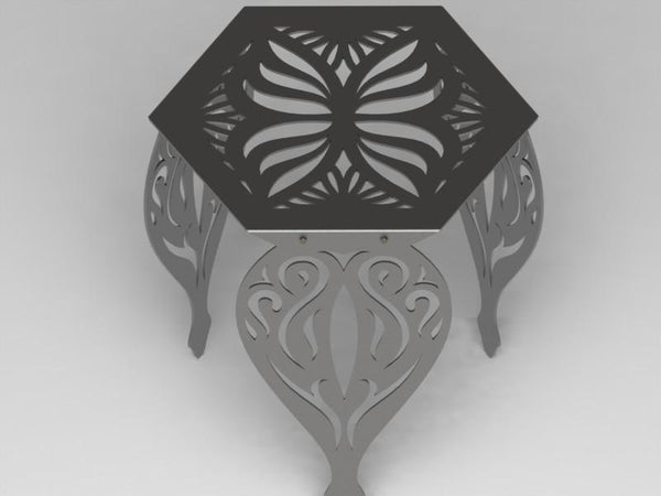 Hexagon Butterfly Table with Traditional Ornamental Style Scroll Legs-DXFforCNC.com-DXF Files cut ready cnc machines