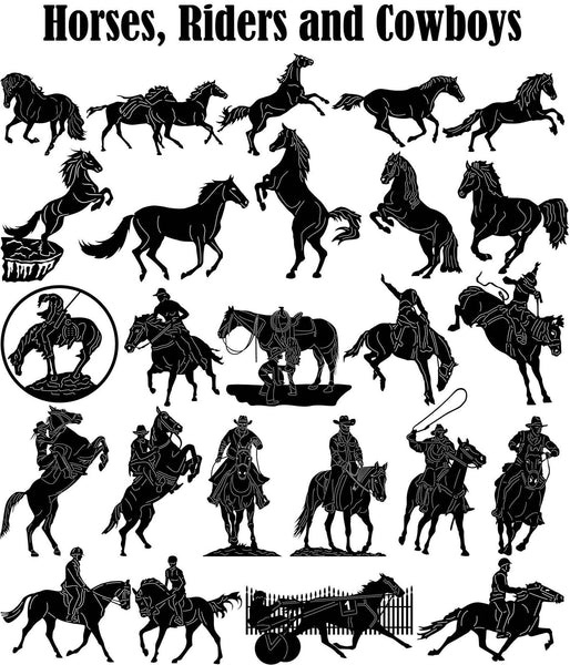 Horses, Riders and Cowboys-DXFforCNC.com-DXF Files cut ready cnc machines