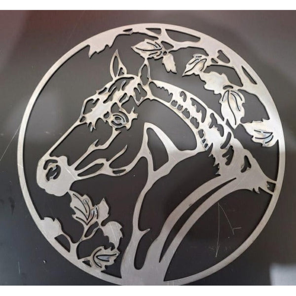 Horse Head and Ivy Leaves in Circle-DXF files cut ready for cnc machines-dxfforcnc.com