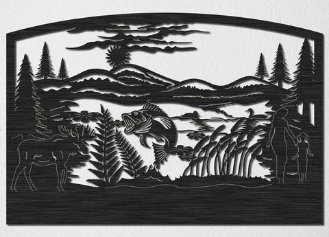 Lake of Fish and Loons with Hills, Moose and Trees Insert-DXFforCNC.com-DXF Files cut ready cnc machines