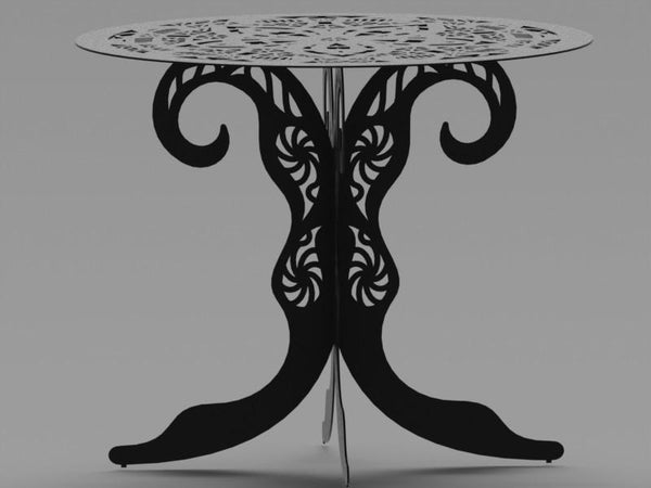 Ornamental Round Table with Traditional Style Scroll Legs-DXFforCNC.com-DXF Files cut ready cnc machines