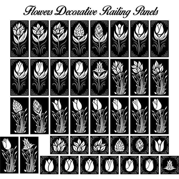 Ornaments Flowers Decorative Railing Panels-DXFforCNC.com-DXF Files cut ready cnc machines