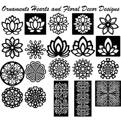 Ornaments Hearts and floral decor designs-DXFforCNC.com-DXF Files cut ready cnc machines