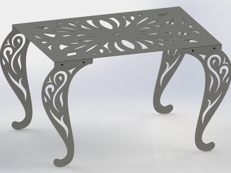 Rectangle Table with Traditional Style Scroll Legs