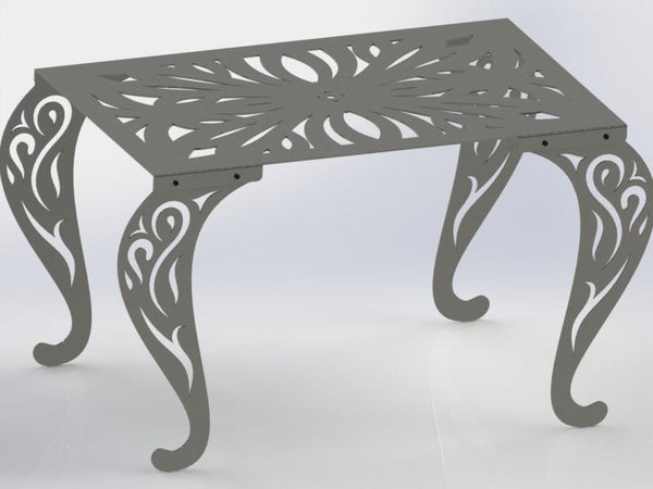 Rectangle Table with Traditional Style Scroll Legs-DXFforCNC.com-DXF Files cut ready cnc machines