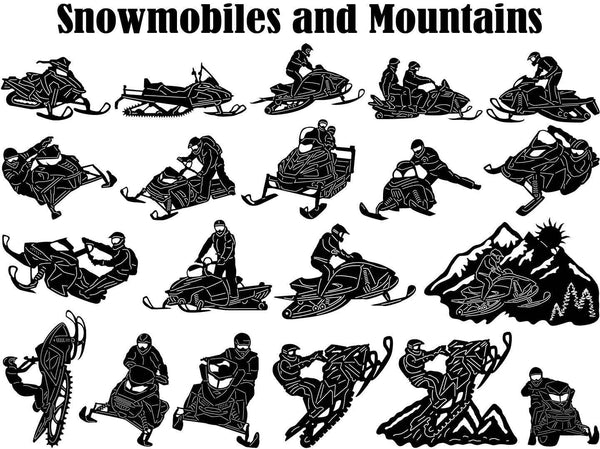 Snowmobile Rider Jumping and Mountains-DXFforCNC.com-DXF Files cut ready cnc machines