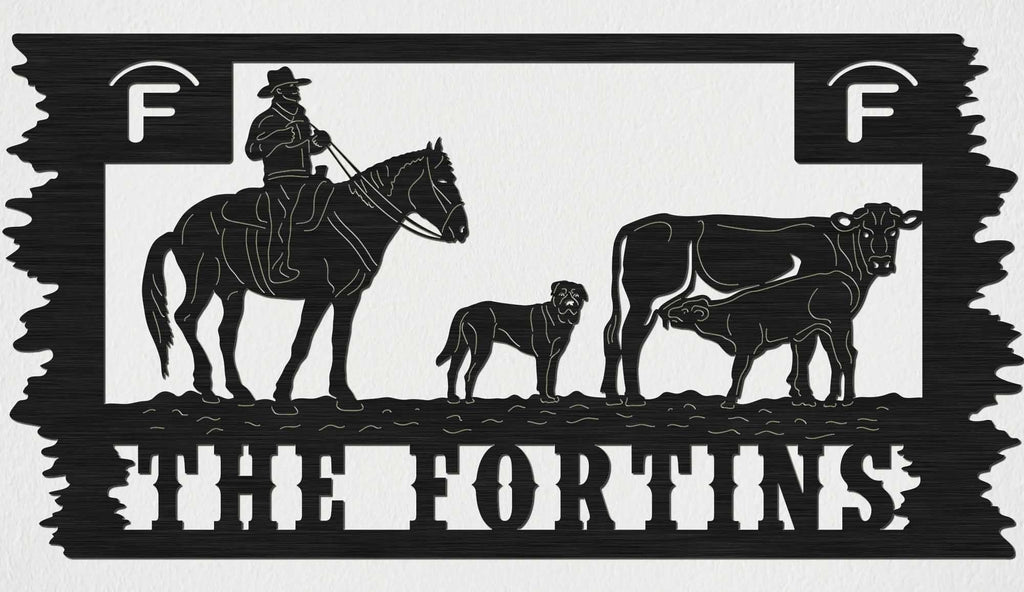 The FORTINS Sign Cowboy, Dog, Cow and Calf-DXFforCNC.com-DXF Files cut ready cnc machines