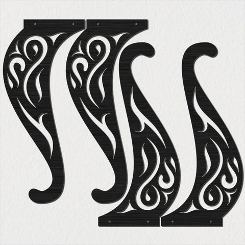 Traditional Style Ornamental Scroll Legs Of Table Dxf