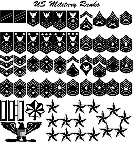 US Military Ranks for Army, Navy, Air Force, Marines and Coast Guard-DXFforCNC.com-DXF Files cut ready cnc machines