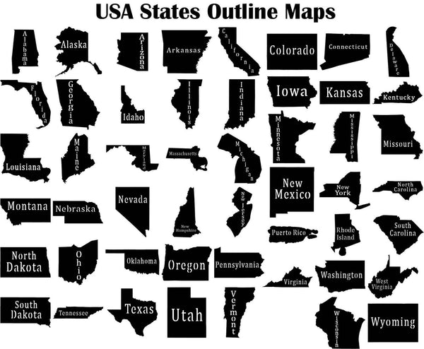 USA States Outline Maps-DXFforCNC.com-DXF Files cut ready cnc machines