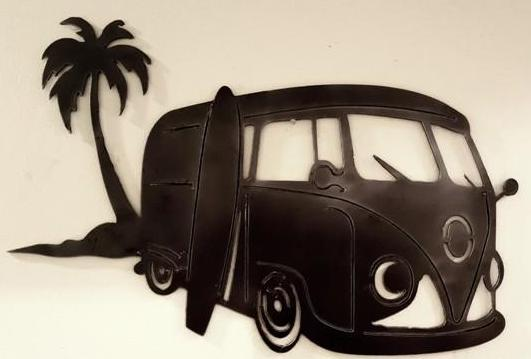 Kombi Bus in Beach view-DXF file cut ready for cnc machines-DXFforCNC.com
