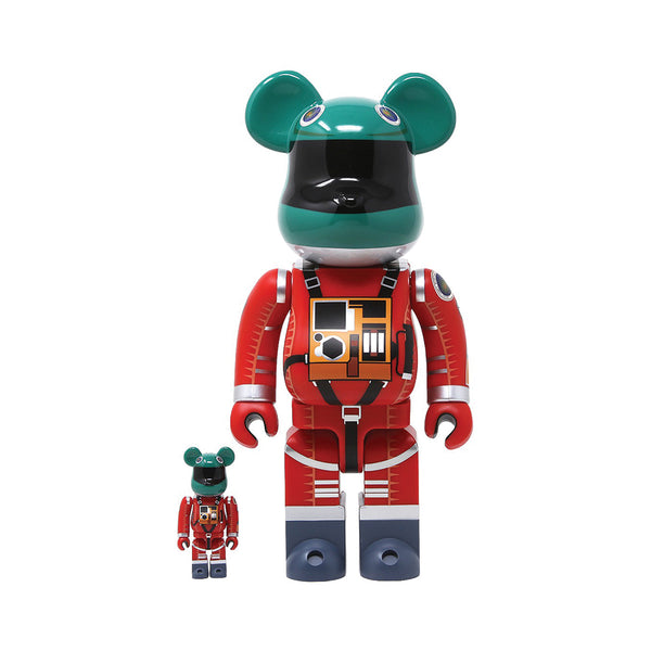 Medicom Toy BE@RBRICK 2001 A Space Odyssey Space Suit Green Helmet Orange Suit 400% 100% set