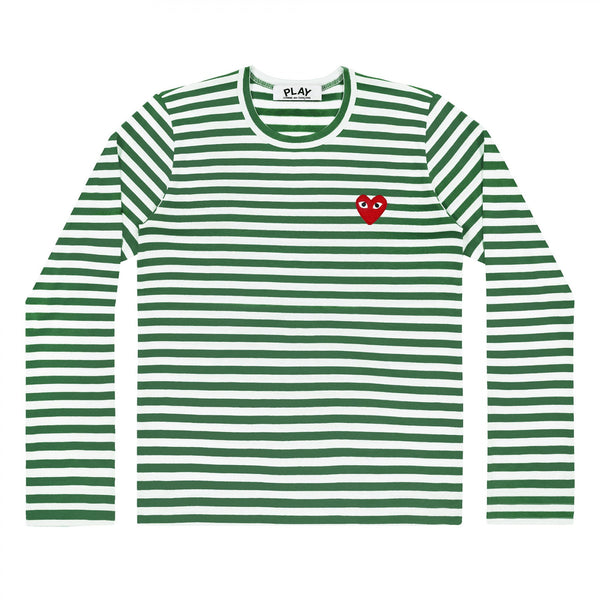 COMME des GARCONS PLAY Striped Longsleeve Green / White