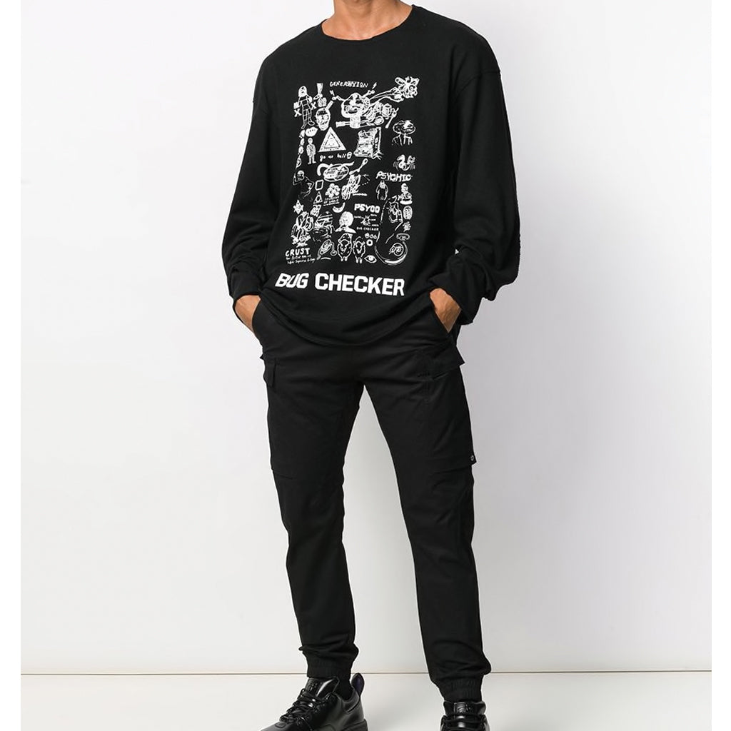 JohnUNDERCOVER Bug Checker Graphic Longsleeve Black