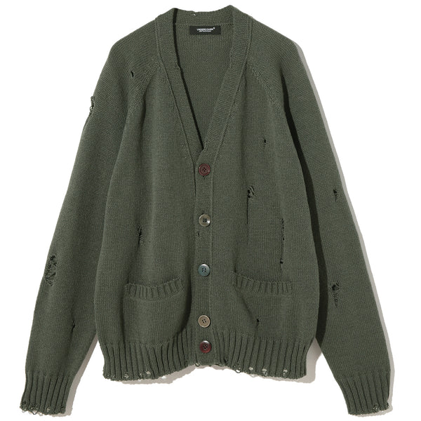 UNDERCOVER Jun Takahashi Knitted Deconstructed Cardigan Green UC1A4906
