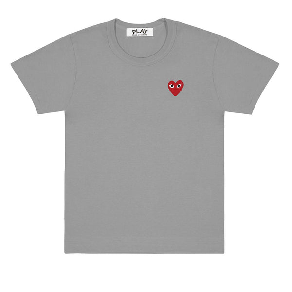 COMME des GARCONS PLAY Colour Series Red Heart T-Shirt Grey