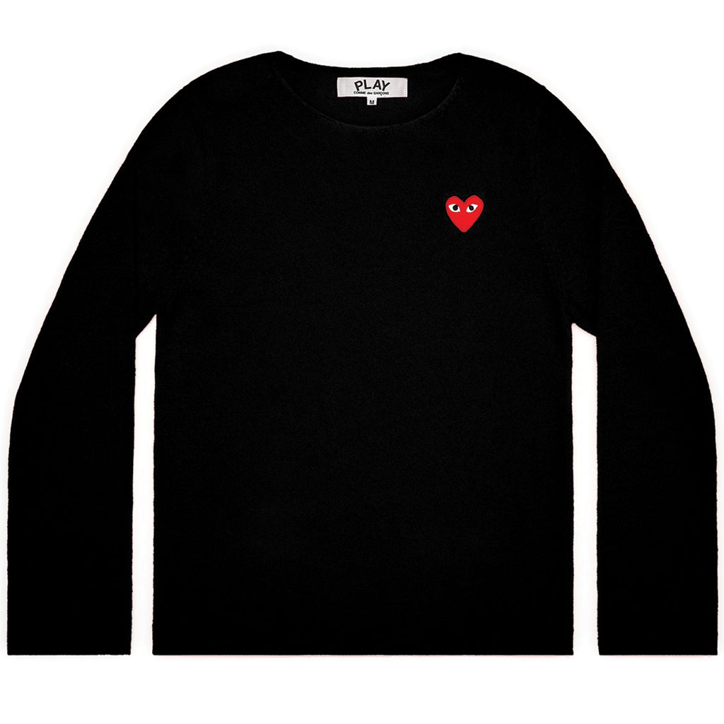 COMME des GARCONS PLAY Red Heart Crewneck Jumper Black