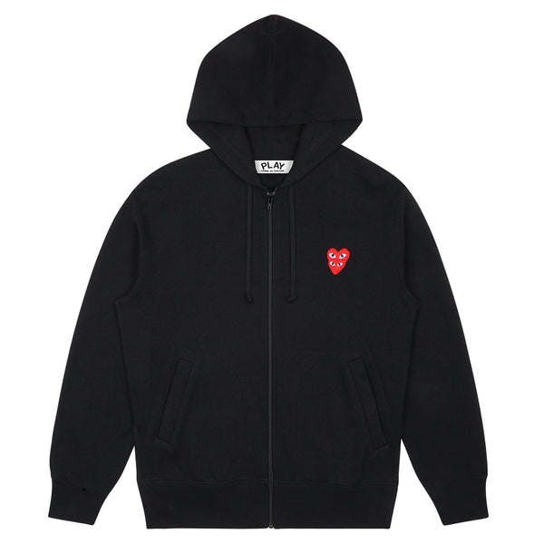 COMME des GARCONS PLAY Double Heart Hooded Zip-Up Sweatshirt Black