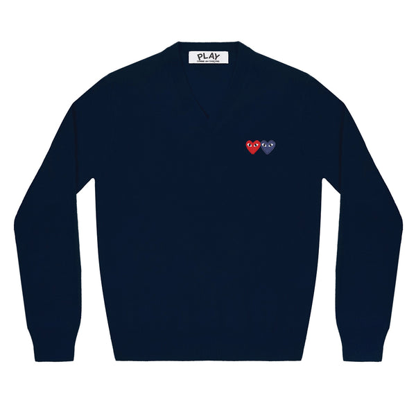 COMME des GARCONS PLAY Double Heart V-Neck Knit Navy