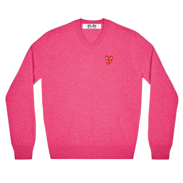 COMME des GARCONS PLAY Pullover Double Eye V-Neck Knitted Sweater Pink