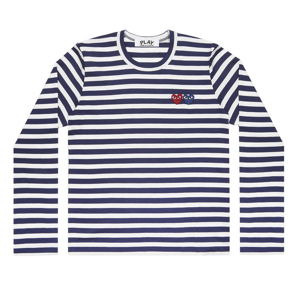 COMME des GARCONS PLAY Double Heart Striped Longsleeve