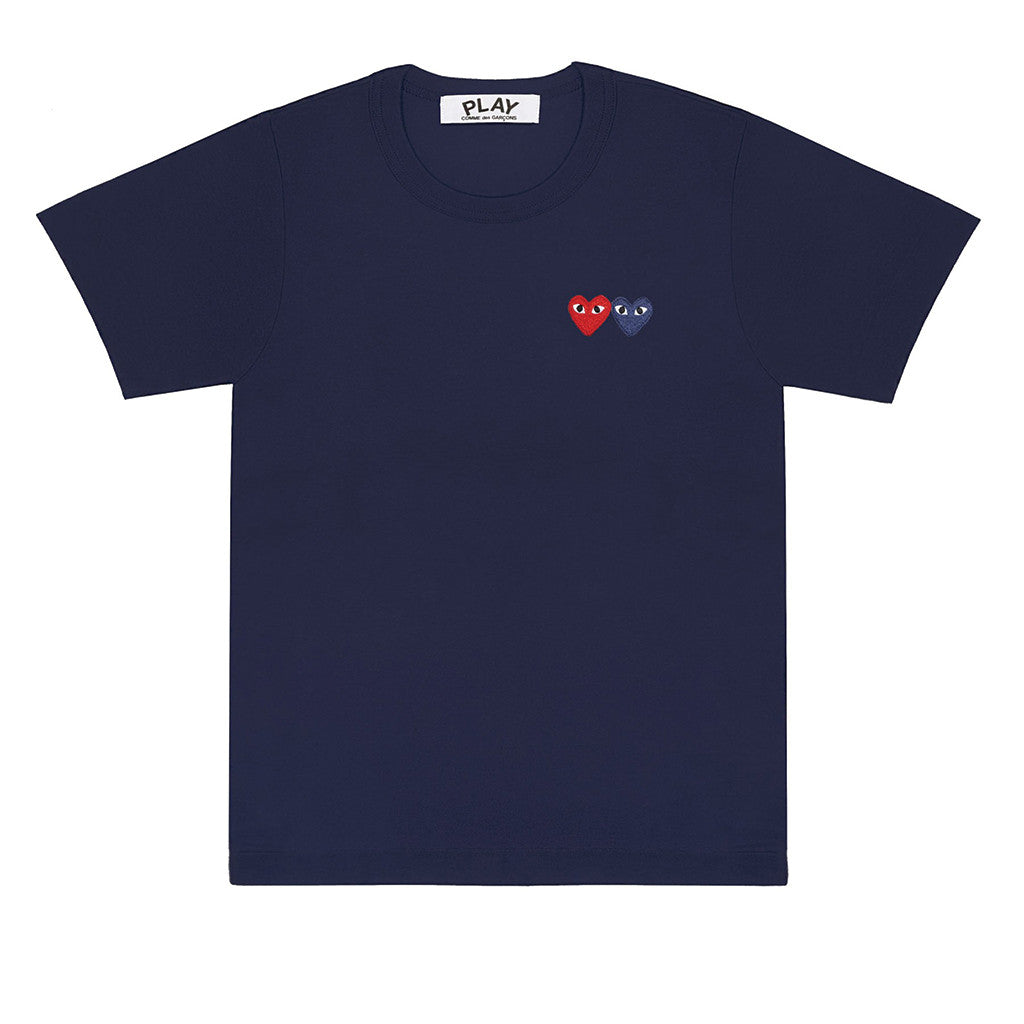 COMME des GARCONS PLAY Double Heart T-Shirt Navy