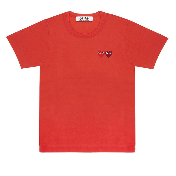 COMME des GARCONS PLAY Double Heart T-Shirt Red