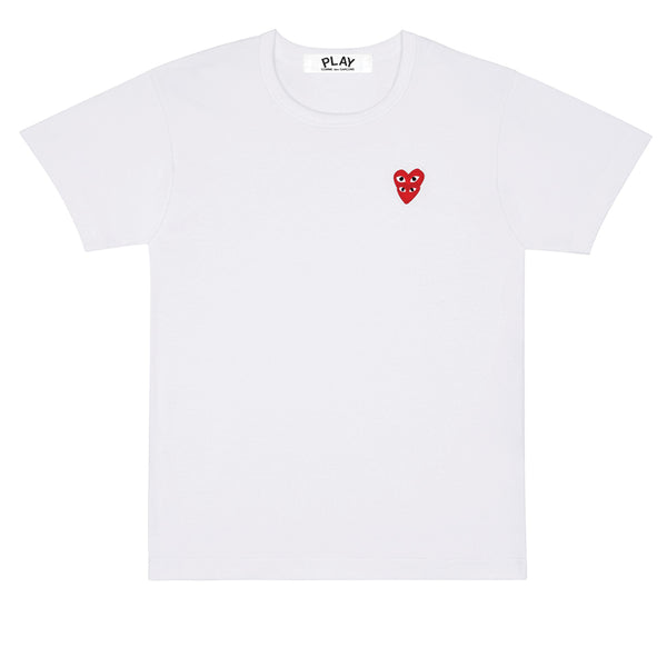 COMME des GARCONS PLAY Double Red Heart T-Shirt White