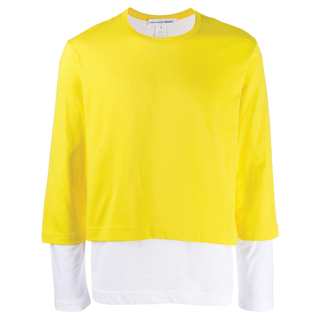 COMME des GARCONS SHIRT Double T-Shirt Yellow / White W27113