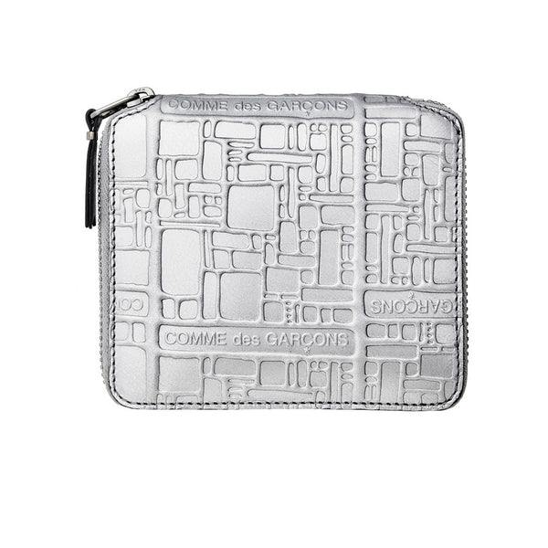 COMME des GARCONS WALLETS Embossed Logotype Silver SA2100EG