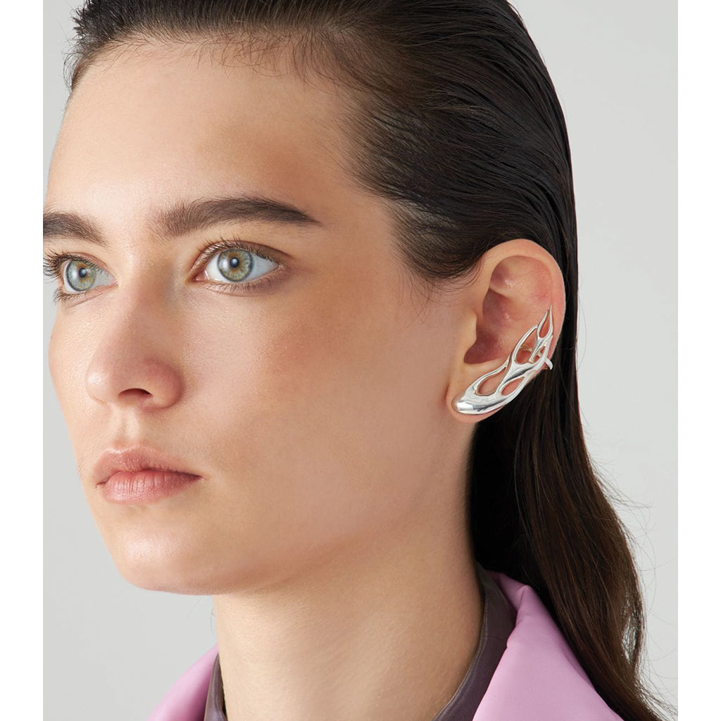 Flame Ear Cuff Earring Silver