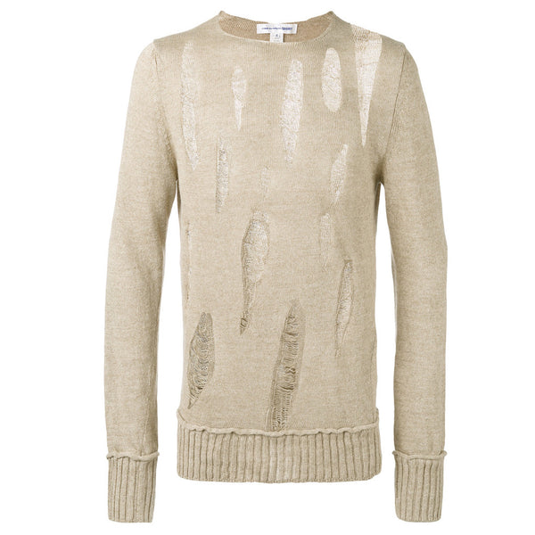 COMME des GARCONS SHIRT Light-Brown Destroyed Linnen Knitwear
