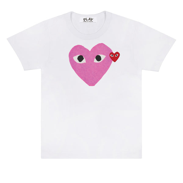 COMME des GARCONS PLAY Pink / Red Heart T-Shirt - P1T106