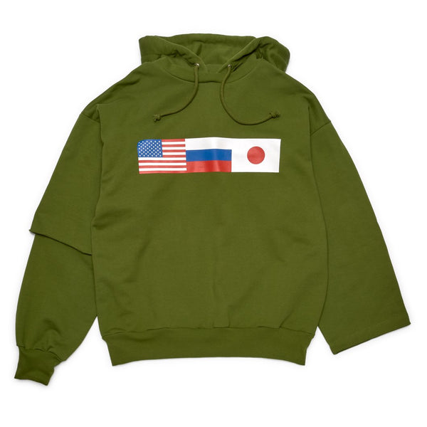 GOSHA RUBCHINSKIY Double Sleeve Hooded Sweatshirt Green