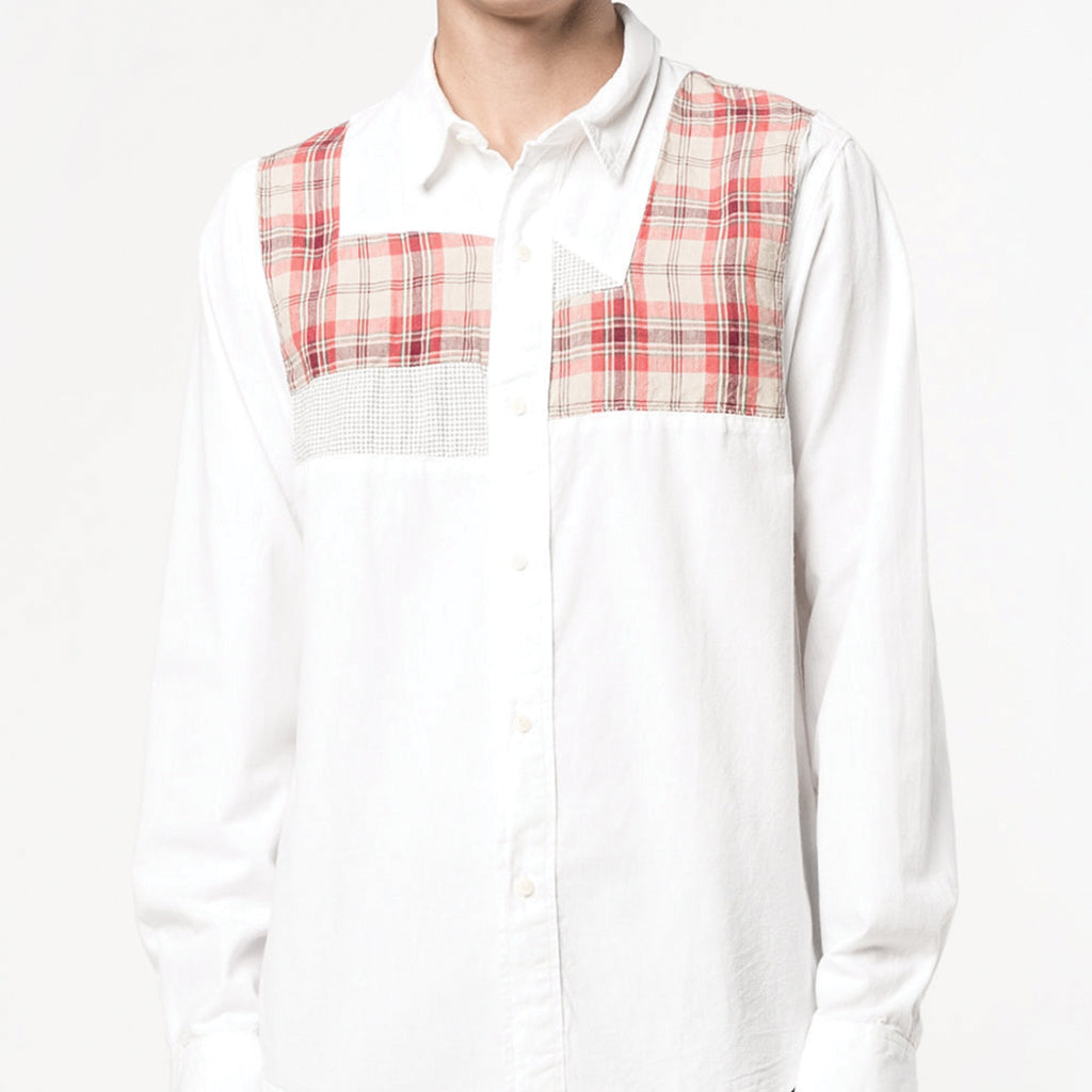 visvim Grainger Patchwork Shirt Chambray White