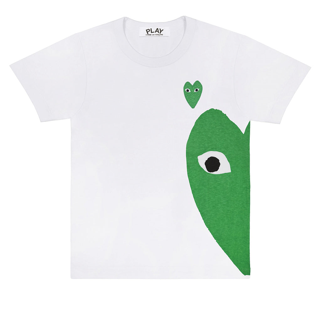COMME des GARCONS PLAY Green Heart T-Shirt White